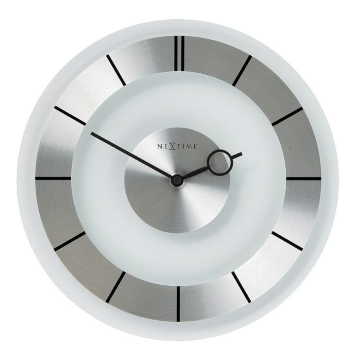 Nábytek Retro - hodiny, nástěnné, kulaté (sklo, bílé)