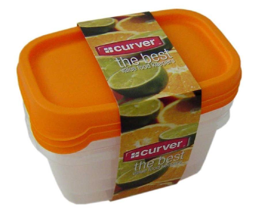 Nábytek Sada dóz na potraviny, 3x0,5l (plast,oranžová)