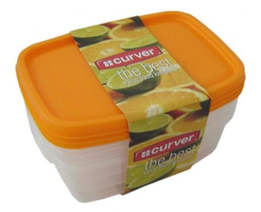 Nábytek Sada dóz na potraviny, 3x1,2l (plast,oranžová)