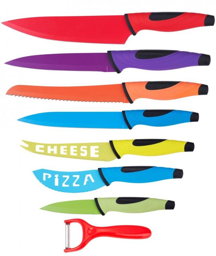 Nábytek Sada nožů+škrabka rb-2504 (nerez,nepřilnavý povrch,vícebarevné)