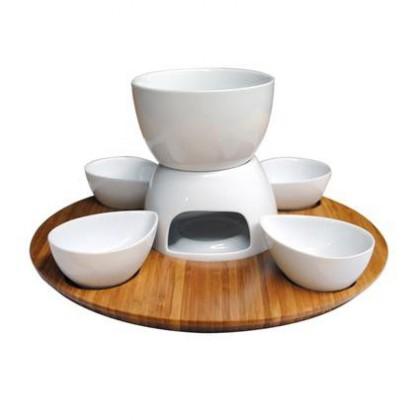 Nábytek Set na fondue 360564 (bambus,keramika)
