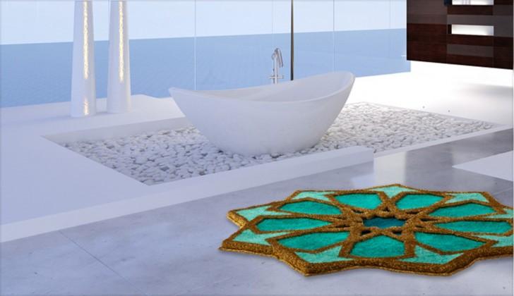 Nábytek Sherezad - Předložka kruh, 120 cm (smaragdová-tyrkysová-zlatá)