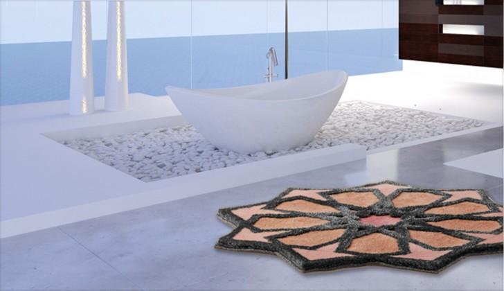 Nábytek Sherezad - Předložka kruh, 140 cm (růžová-broskvová-stříbrná)