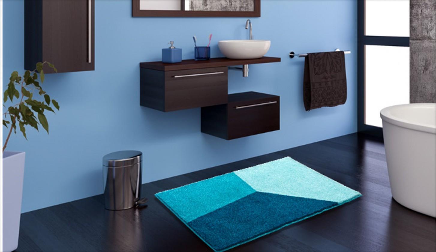 Nábytek Shi - Koupelnová předložka 70x120 cm (ledově modrá-petrolejová)