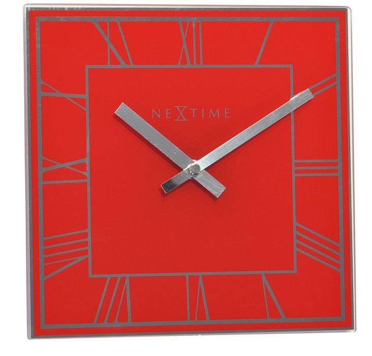 Nábytek Square Roman - hodiny, nástěnné, hranaté (sklo, červené)