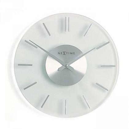 Nábytek Stripe - hodiny, nástěnné, kulaté (sklo, bílé)