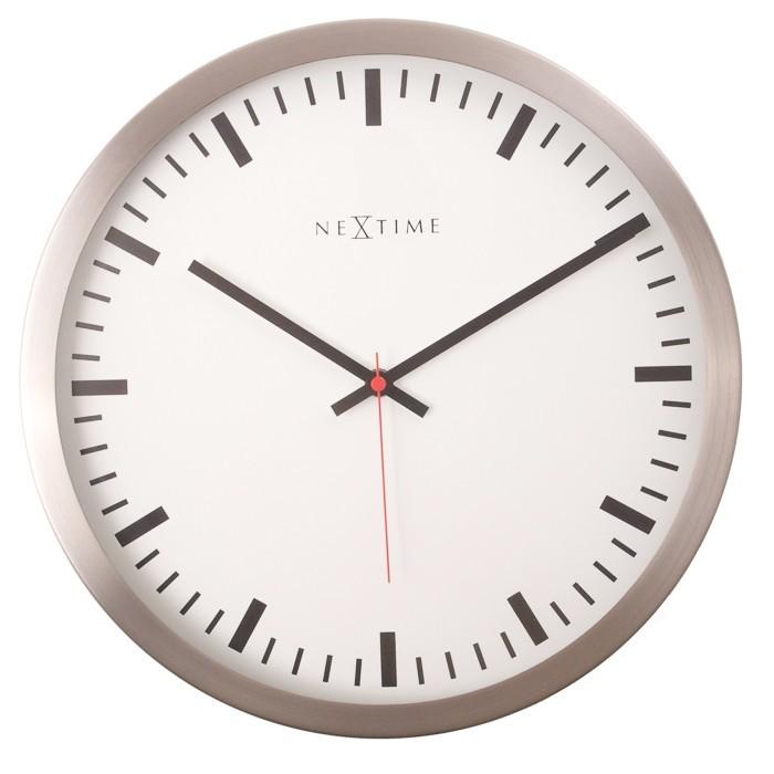Nábytek Stripe - hodiny, nástěnné, kulaté (sklo, nerez, bílé)