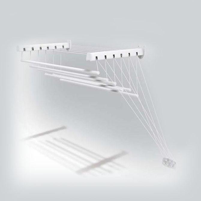 Nábytek Sušák stropní, 140 cm x 6 tyčí (bílý kov, plastové prvky)