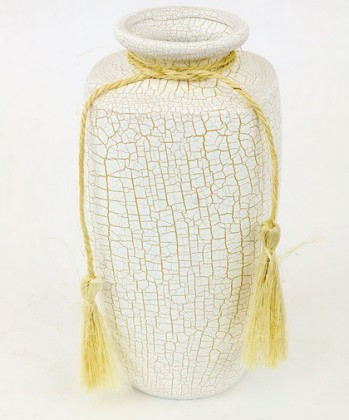 Nábytek Váza keramická-25 cm (keramika,krémová,struktura s prasklinami)