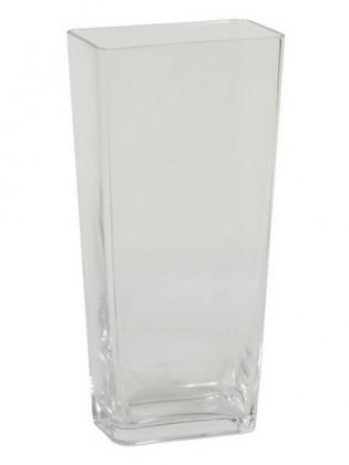 Nábytek Váza skleněná - 30 cm, hranatá (sklo, čirá)