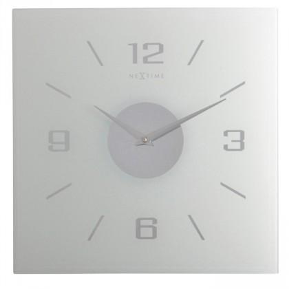 Nábytek Willie - hodiny, nástěnné, hranaté (mléčné sklo, bílé)