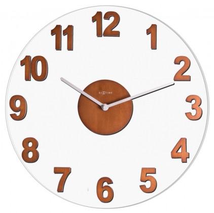 Nábytek Woody - hodiny, nástěnné, kulaté (sklo, dřevo, hnědé)