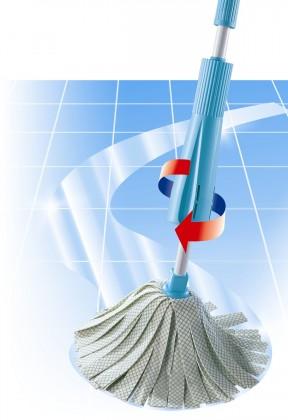 Nábytek Wring - Podlahový mop se ždímací mechanikou (šedá, tyrkysová)