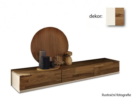 Nádstavec na TV stolek Feel - TV prvek se 3 zásuvkami (bílá/divoký buk)