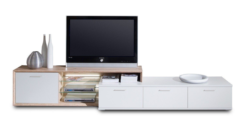 Nádstavec na TV stolek Veto - Typ 33 (bílá arctic/bílá vysoký lesk/dub san remo sand)