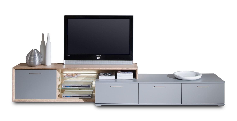 Nádstavec na TV stolek Veto - Typ 33 (šedá/šedá supermat/dub sand remo sand)