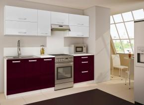 Nancy 14 - Kuchyňský blok (bílá / fialová HG / bílá HG)