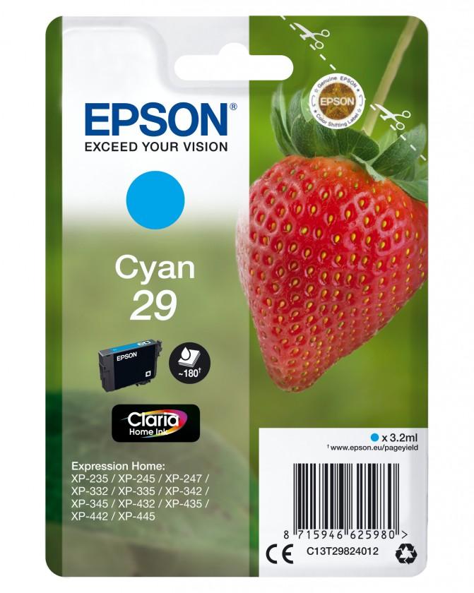 Náplně a tonery - originální Cartridge Epson C13T29824010, Claria Home T2982, azurová