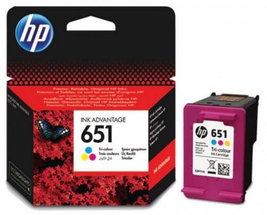 Náplně a tonery - originální Cartridge HP C2P11AE, 651, Tri-color