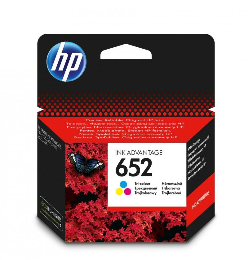 Náplně a tonery - originální Cartridge HP F6V24AE, 652, Tri-color