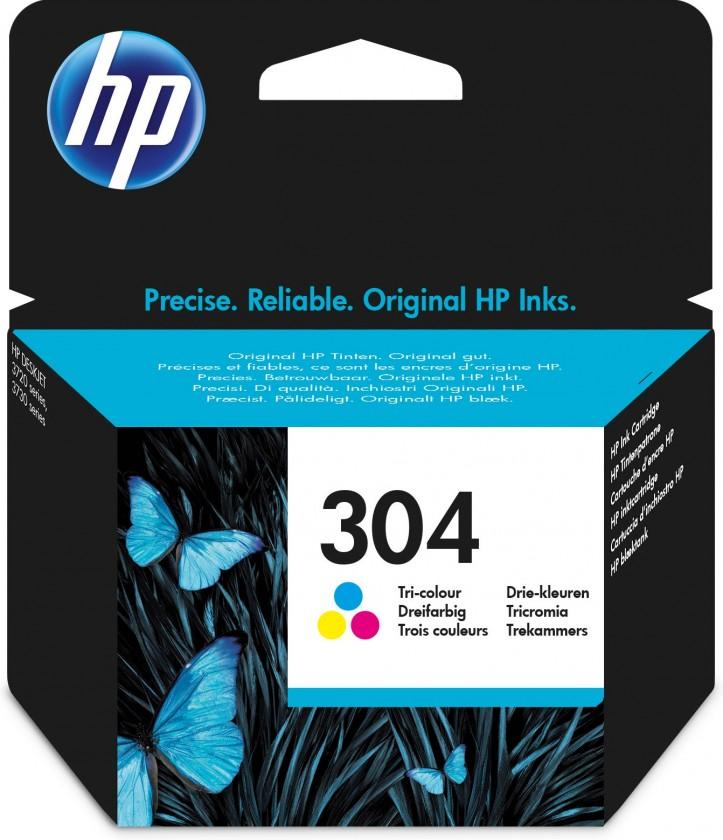 Náplně a tonery - originální Cartridge HP N9K05AE, 304, Tri-color