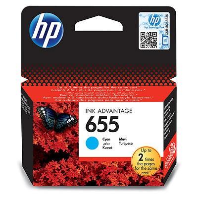 Náplně a tonery - originální Inkoustová kazeta HP CZ110AE, HP 655 modrá