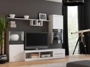 Nick - Obývací stěna (bílá/bílá,černá lesk)