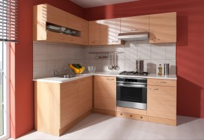 Nina - Kuchyně, 220x160 cm (buk, traini beige)