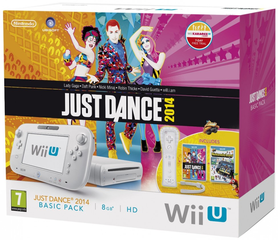 Nintendo Wii U White Basic Pack + Nintendo Land + Just Dance2014