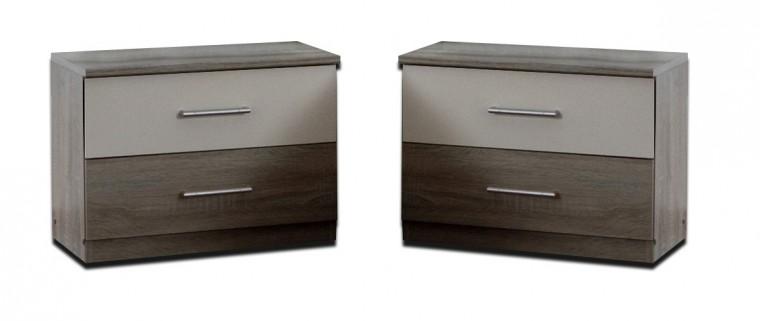 Noční stolek Alina - Noční stolek 2x (dub montana, alpská bílá)