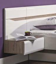 Noční stolek Leone - závěsný, levý (dub trufel, bílá lesk)