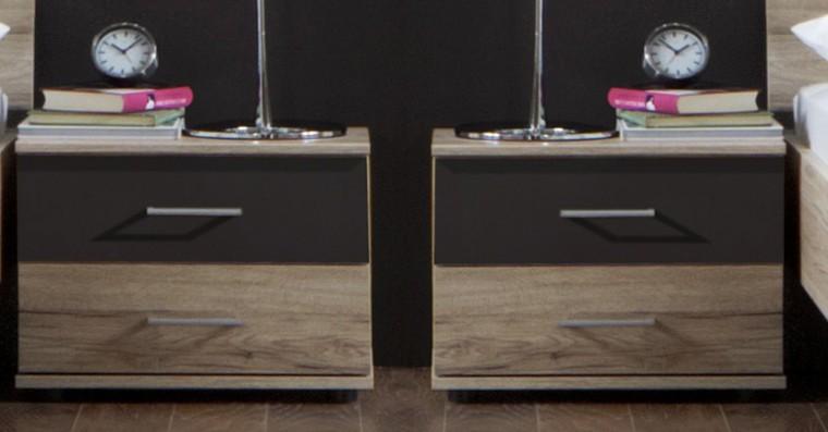 Noční stolek Madrid - Noční stolek 2x (dub san remo/lava černá)