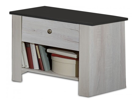 Noční stolek Noční stolek Chateau (dub bílý/lava černá)