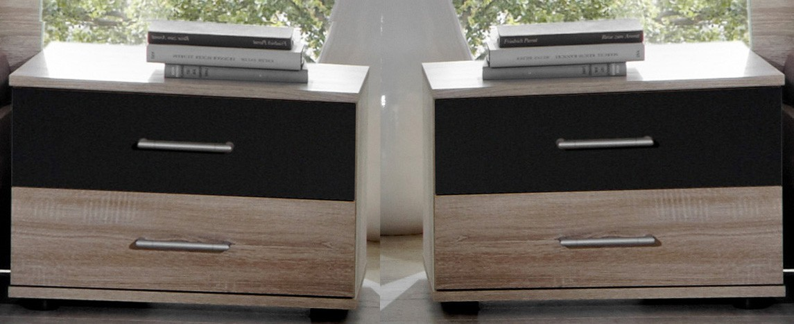 Noční stolek Vicenza - Noční stolek 2x (dub/lava černá)
