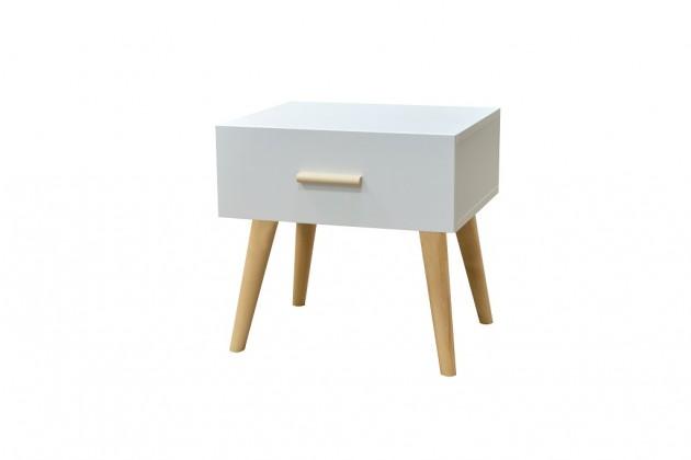 Noční stolky Noční stolek Creative (bílá/buk)