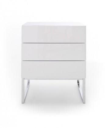 Noční stolky Noční stolek Heda (3 zásuvky, bílá lesk, chromovaný rám)