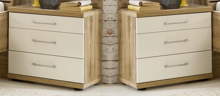 Noční stolky Noční stolek Padua - 3x zásuvka, 2 ks (dub balken/alpská bílá)