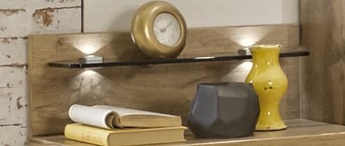 Noční stolky Padua - Deska nočního stolku, skleněná police, 2ks (dub balken)
