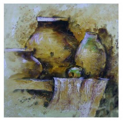 Obraz na zeď - plátno (béžovo-hnědé vázy)