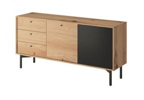 Obývací komoda Preston (3x zásuvka, dub)