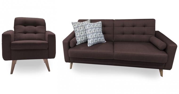 Obývací pokoje Nappa - Set: trojsedák + 1x křeslo + 2x polštář (kůže)
