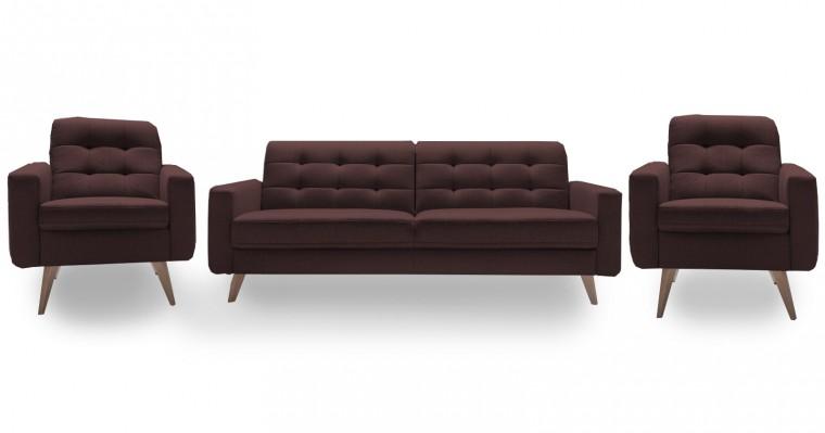 Obývací pokoje Nappa - Set: trojsedák + 2x křeslo (kůže)