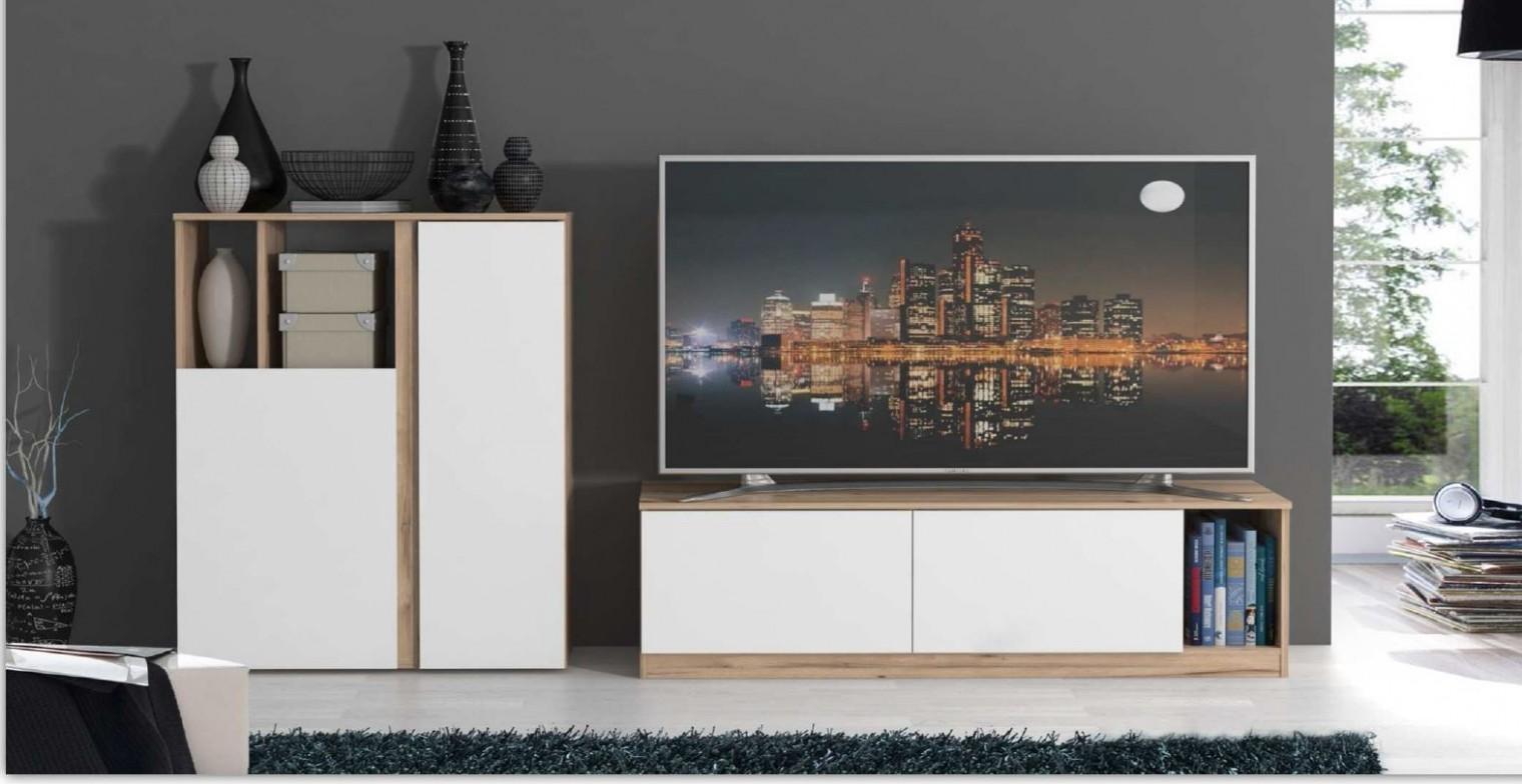 Obývací pokoje ZLEVNĚNO Maser - Obývací stěna (c157 - dub/bílá)