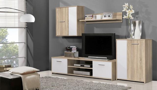 Obývací pokoje ZLEVNĚNO Paco PCOM02-Q45F(dub sonoma/bílá)