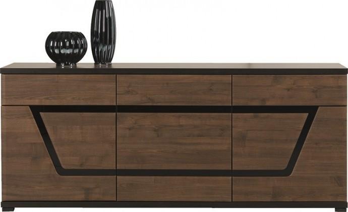 Obývací pokoje ZLEVNĚNO Tes - Komoda, 3x dveře (ořech, korpus a fronty)