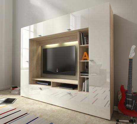 Obývací pokoje ZLEVNĚNO Vigo - Obývací stěna (dub sonoma/bílá lesk)