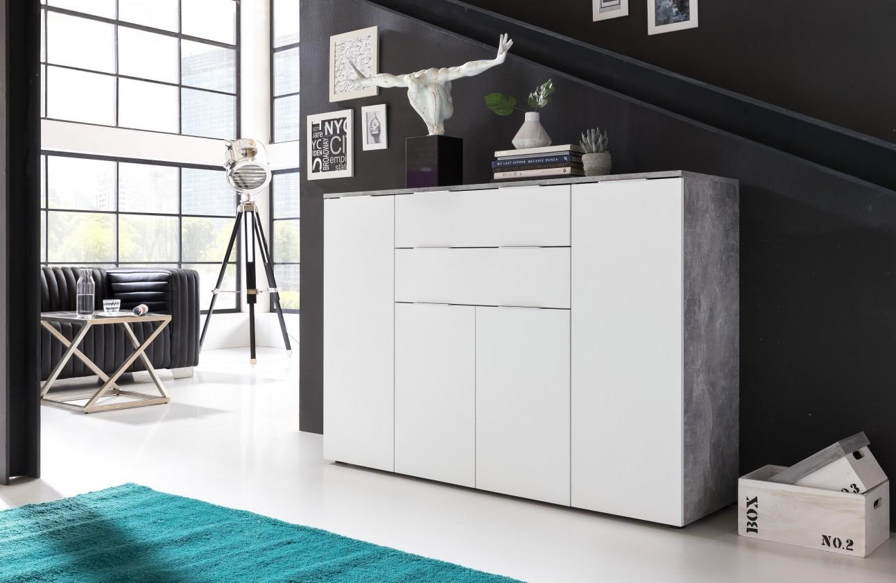 Obývací pokoje ZLEVNĚNO Viva - Obývací komoda velká (cement šedá/bílá)