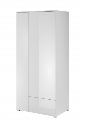 Obývací skříně Obýváková skříň Simple (bílá, bílá lesk)