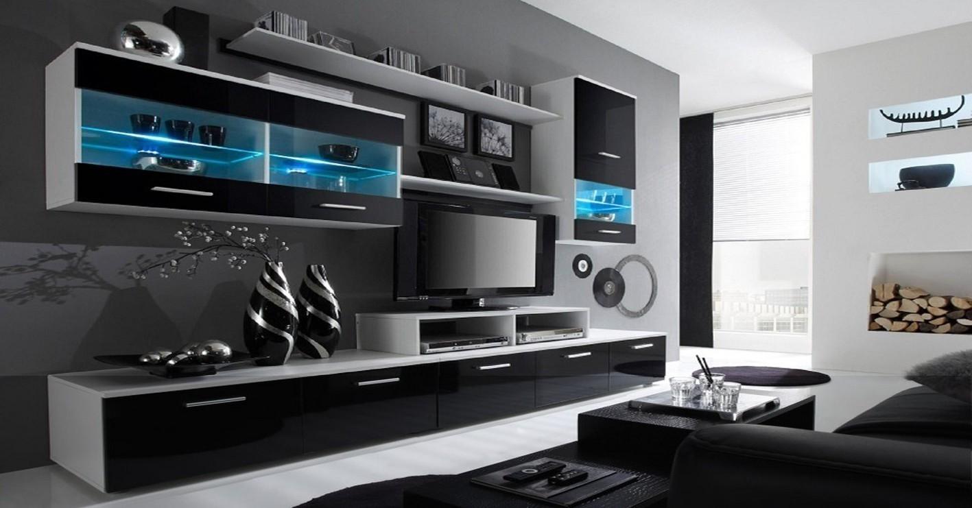 Obývací stěna Alfa - obývací stěna (bílá/černá)