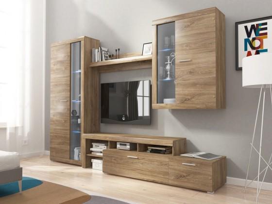 Obývací stěna Alvaro - Obývací stěna, 2x vitrína, RTV komoda, LED (stirling)